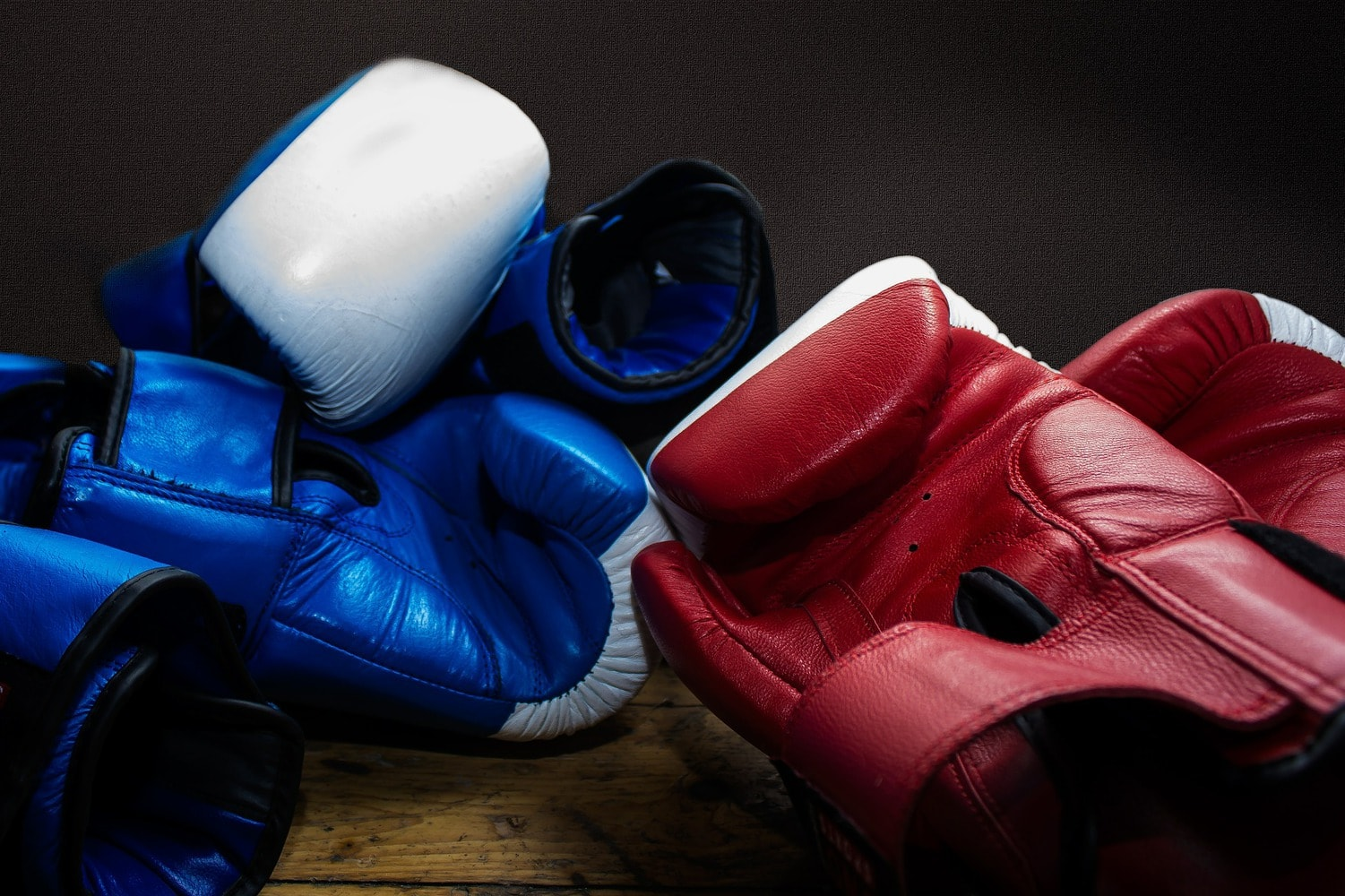 blue and red gloves