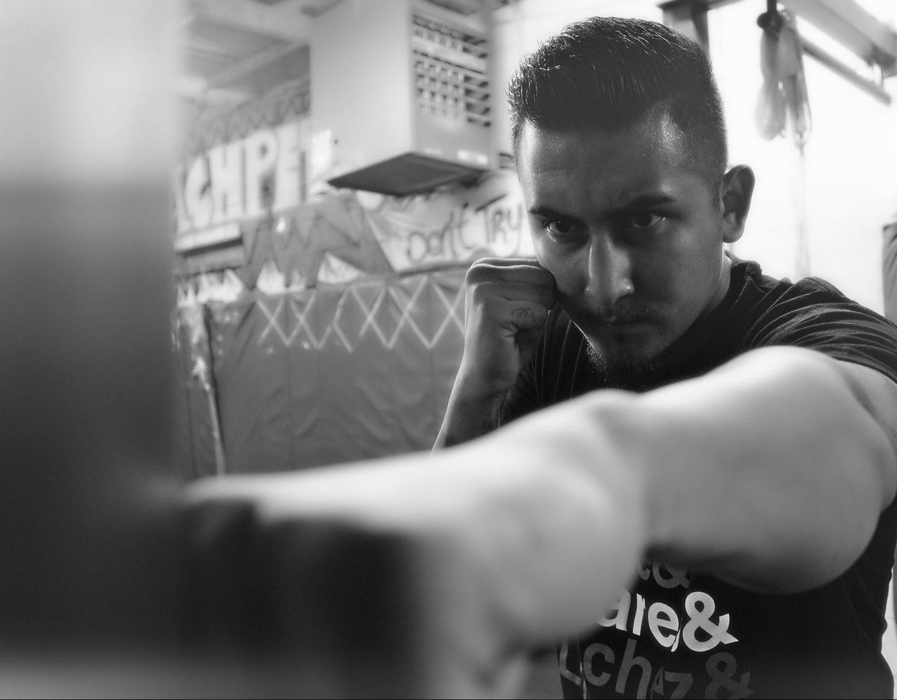 boxer in black and white shot