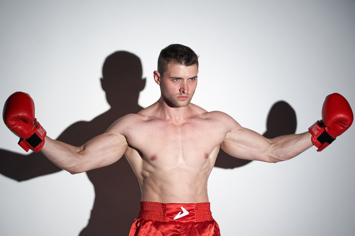 boxer wearing red gloves