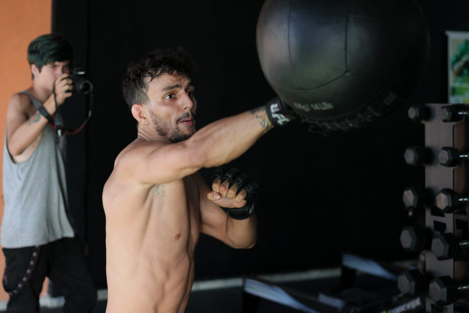boxing training on a speedbag