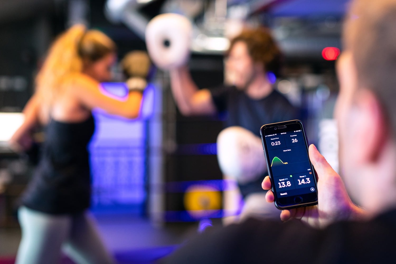 female boxer on timed training